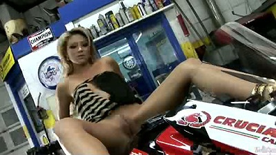 Masturbating teeen Natalia Forrest sits on bike with legs spreads naked