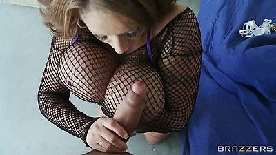 Big tits Eva Notty a nice milf in fishnet working cock
