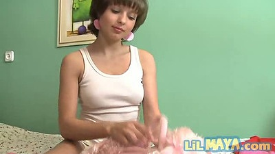 Young teen Lil Maya shoving huge fat dildo into shaved pussy