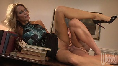 Sideways fucked rolled up skirt jessica drake on the desk with mouthful ejaculate