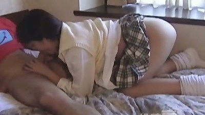 Asian school girl uniform blowjob half dressed and sex toys in pussy