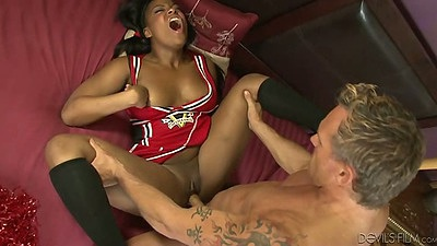 Ebony Monique Symone fucking up her uniform like a champ cheerleader
